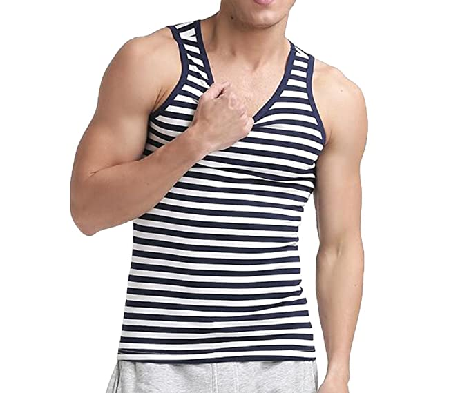 e48f10eba58 Amazon.com  Tank Men Casual Vest Tee Sleeveless Striped Sailor T ...