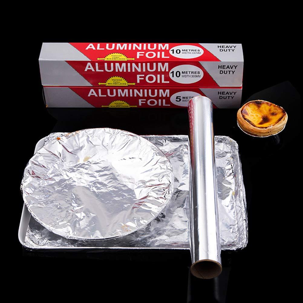 BESTONZON Aluminiumfolie Rolle Folie Papier Backen Aluminium Zinn Ofen Grill Tinfoil Papier 3 Rolle 10m Silber