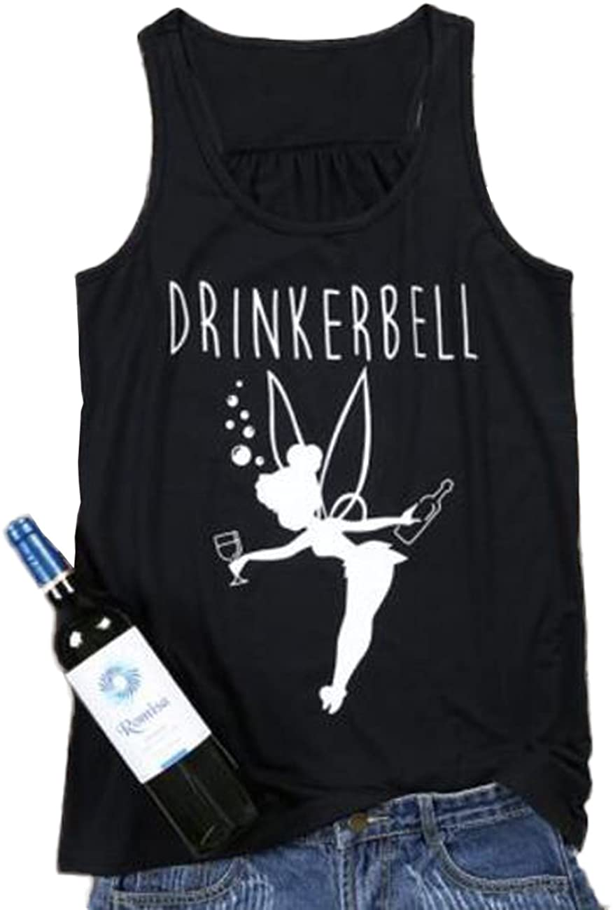 FAYALEQ Drinkerbell Fairy Tank Tops Women Funny Drinking Shirt Casual Letter Printed Graphic Tees