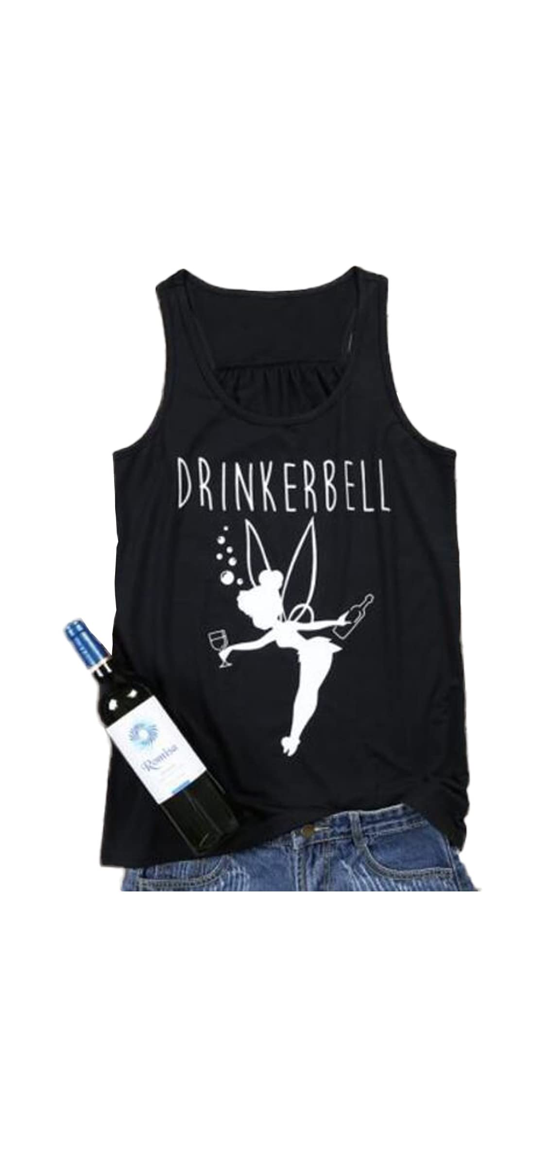 Drinkerbell Fairy Tank Tops Women Funny Drinking Shirt