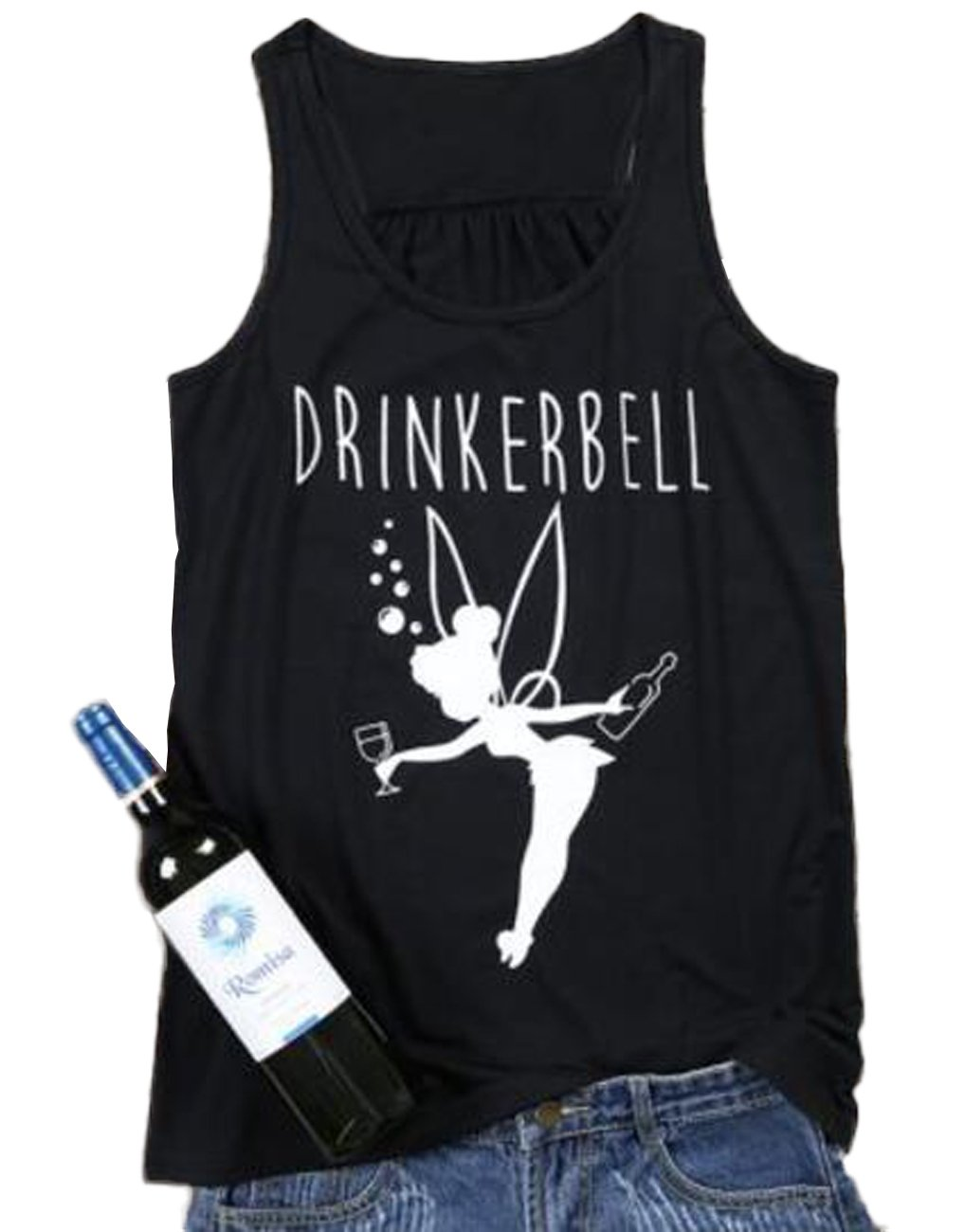 FAYALEQ Drinkerbell Fairy O-Neck Tank Top Women Casual Printed Sleeveless Funny T-Shirt Size L (Black)