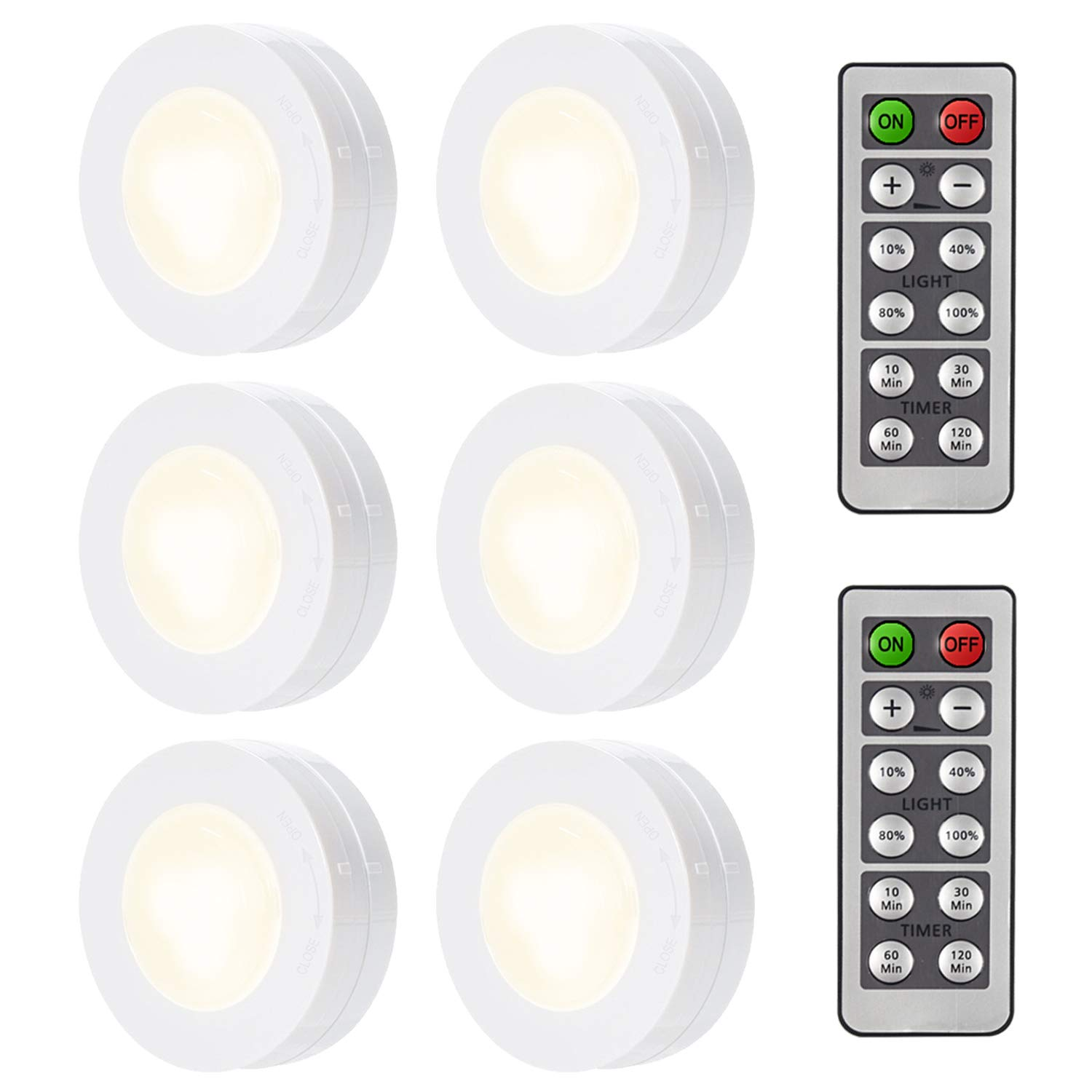 ARVIDSSON Wireless LED Under Cabinet Light with Remote Control, Battery Operated Under Counter Lighting, LED Puck Lights 6 Pack