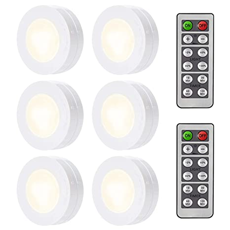 Arvidsson Wireless Led Under Cabinet Light With Remote Control Battery Operated Under Counter Lighting Led Puck Lights 6 Pack