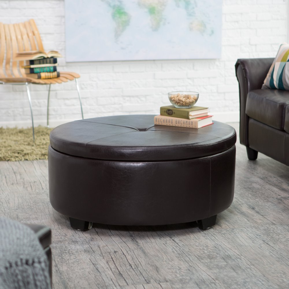 Amazon.com: Belham Living Corbett Coffee Table Storage Ottoman   Round:  Kitchen U0026 Dining