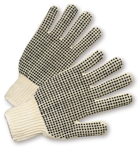 "West Chester 708SK Cotton Polyester Glove, One-Sided PVC Dots, Elastic Wrist Cuff, 9.5"" Length, Men"