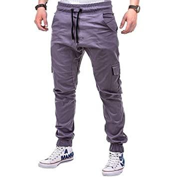 585f1cf7 Mens Gym Slim Fit Trousers Casual Sweatpants Tracksuit Bottoms Skinny  Joggers Sweat Multi-Pocket Track Pants with Drawstring (Gray, M):  Amazon.co.uk: ...