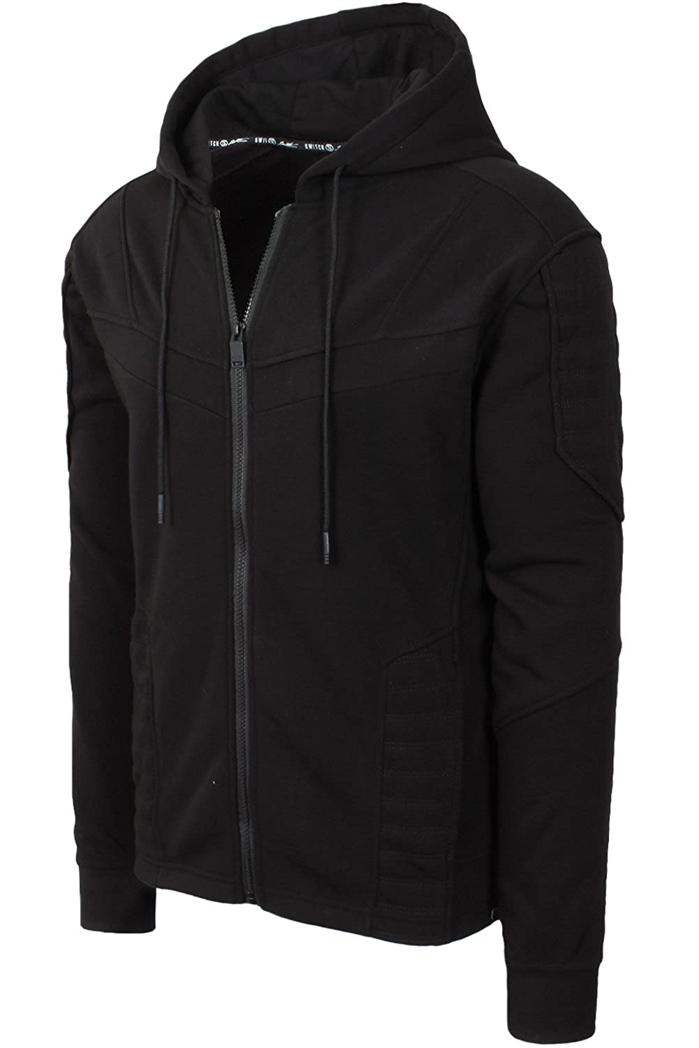 Mho084_black Small JC DISTRO Mens Hipster Hip Hop Quilted Fleece ZipUp Hoodie W Zipper Detail