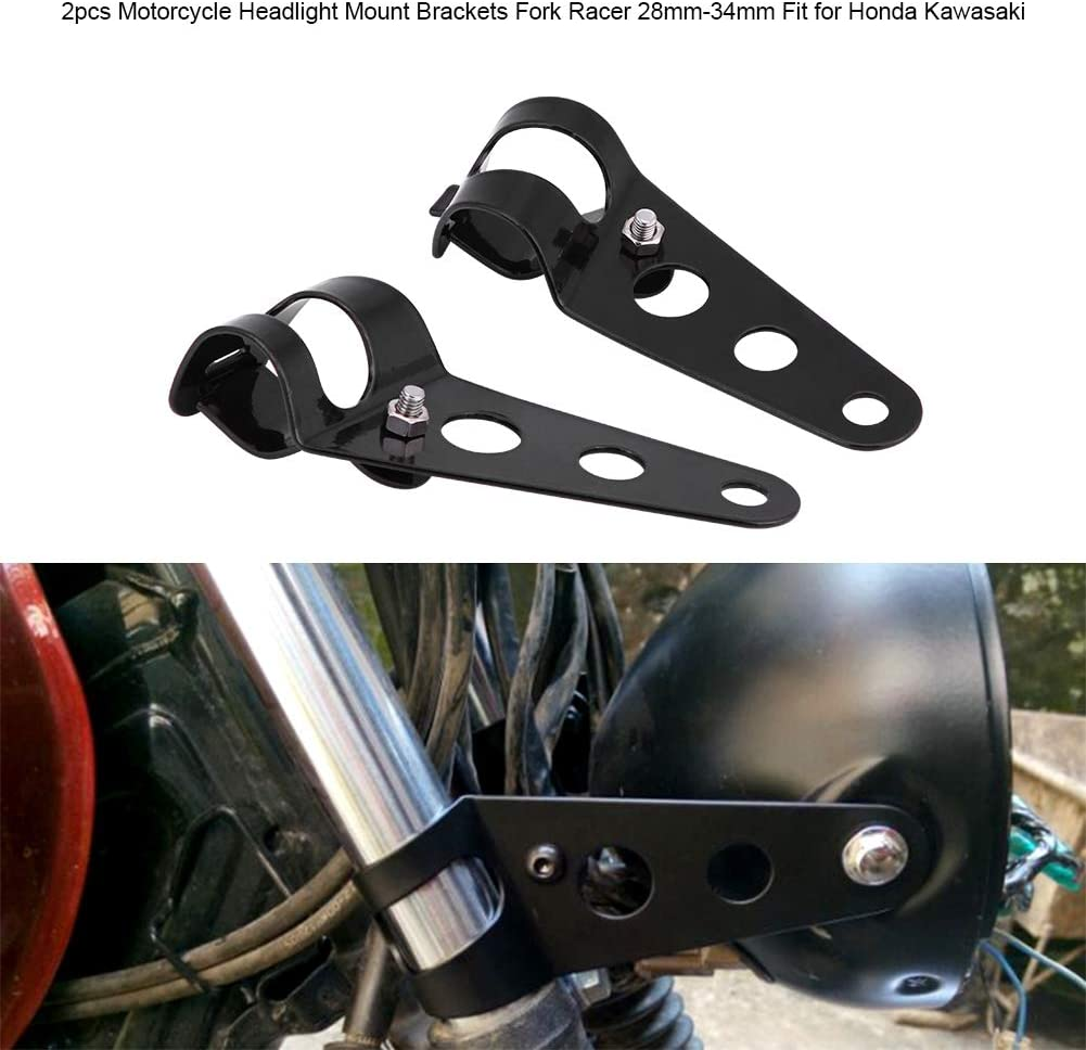 KIMISS 2pcs Soportes de montaje de Faros de Motocicleta ajustable de Acero inoxidable para Fork Racer 28mm-34mm negro