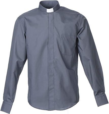 Holyart Camisa Clergy Sacerdote Manga Larga Mixto Algod?n Gris Oscuro, 40 cm - 15.75 Inc. - M: Amazon.es: Hogar