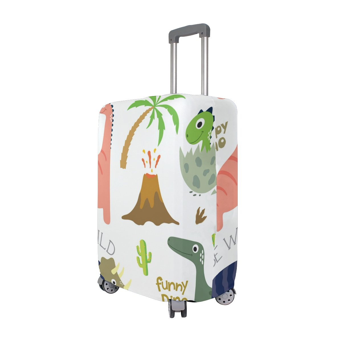 OREZI Luggage Protector Green Dinosaurs Travel Luggage Elastic Cover Suitcase Washable and Durable Anti-Scratch Stretchy Case Cover Fits 18-32 Inches