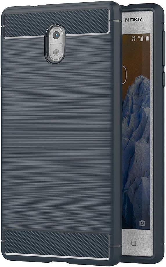 AICEK Funda Nokia 3, Azul Silicona Fundas para Nokia 3 Carcasa Nokia 3 Fibra de Carbono Funda Case (5,0 Pulgadas): Amazon.es: Electrónica