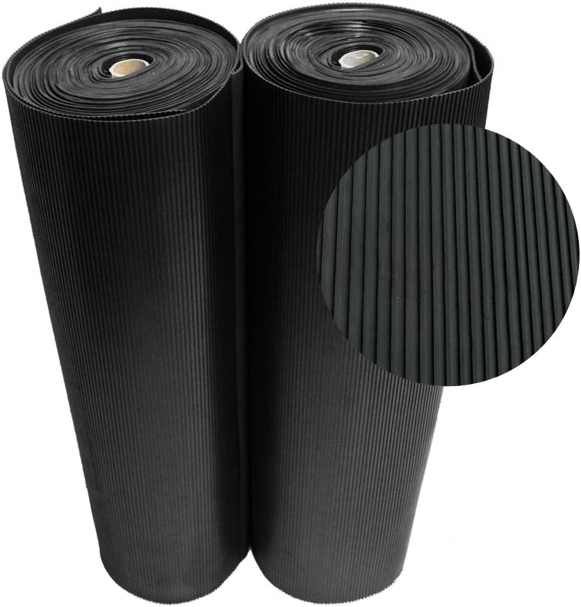 Rubber-Cal 03_167_W_RC_10 Ramp Cleat Non-Slip Outdoor Rubber Floor Mats, 1/8