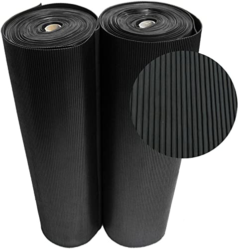 Rubber-Cal 03_167_W_RC_15 Ramp Cleat Non-Slip Outdoor Rubber Floor Mats, 1 8 Thick x 3 x 15 , Black