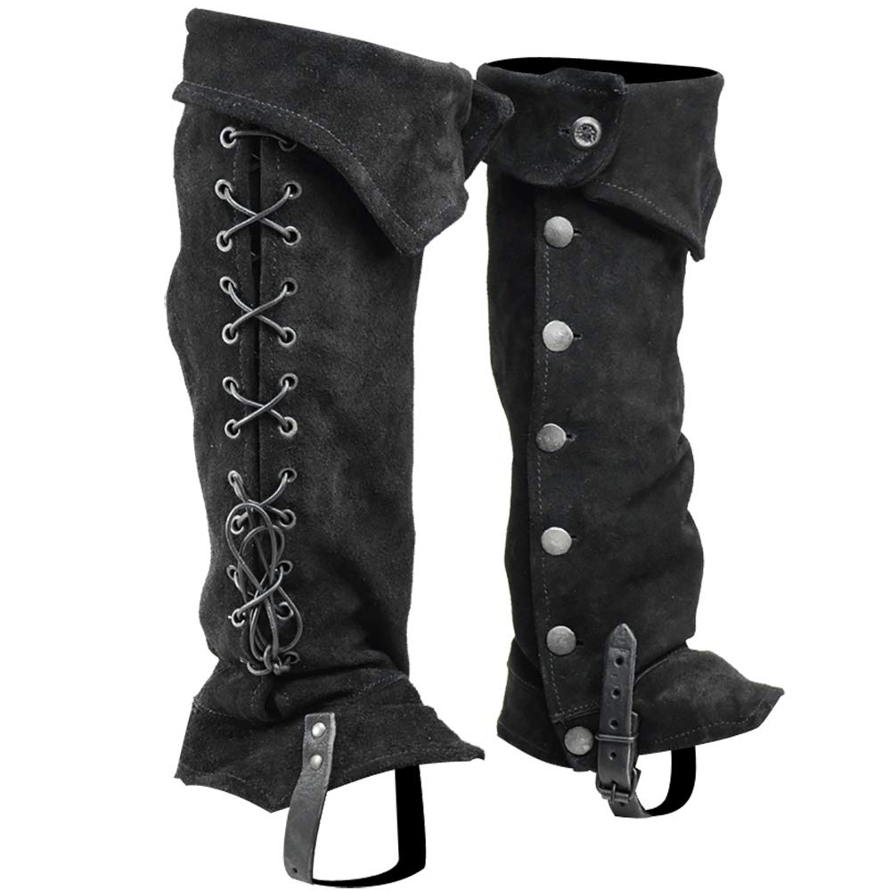 Mens Retro Shoes | Vintage Shoes & Boots Mytholon Gabriel Suede Boot Gaiters Medieval Boot Toppers Renaissance Cosplay LARP $73.00 AT vintagedancer.com