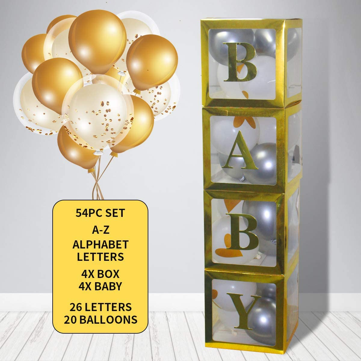LOVE MEI 54 Pcs Gold Baby Shower Blocks With Ballons Decorations Set , DIY Name 4pcs White Transparent Boxes with A - Z Letters, Birthday Party Boxes For Girl And Boy Gender Reveal Supplies, Bridal ,Wedding, Parties, Events ,Home Decor Backdrop