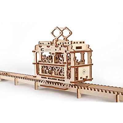Ugears 3D Self Propelled Model Tram with Rails: Toys & Games