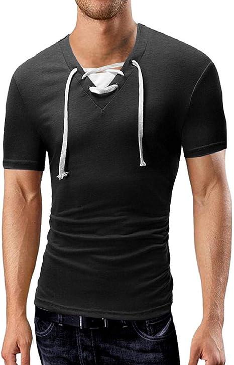 Camisetas musculosas para Hombres, Sudadera con Cuello en v ...