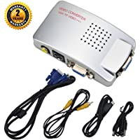 VGA to RCA S Video Converter Adapter Switch Composite Box from Computer PC Laptop to TV or LCD Monitor By Oxsubor (Silver)