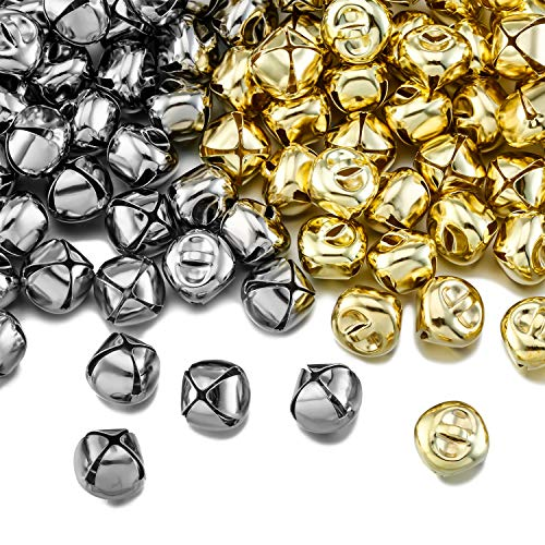 Jingle Bells, Craft Bells, DIY Bells for Wreath, Holiday Home and Christmas Decoration (Silver/Gold, 200 Pieces)