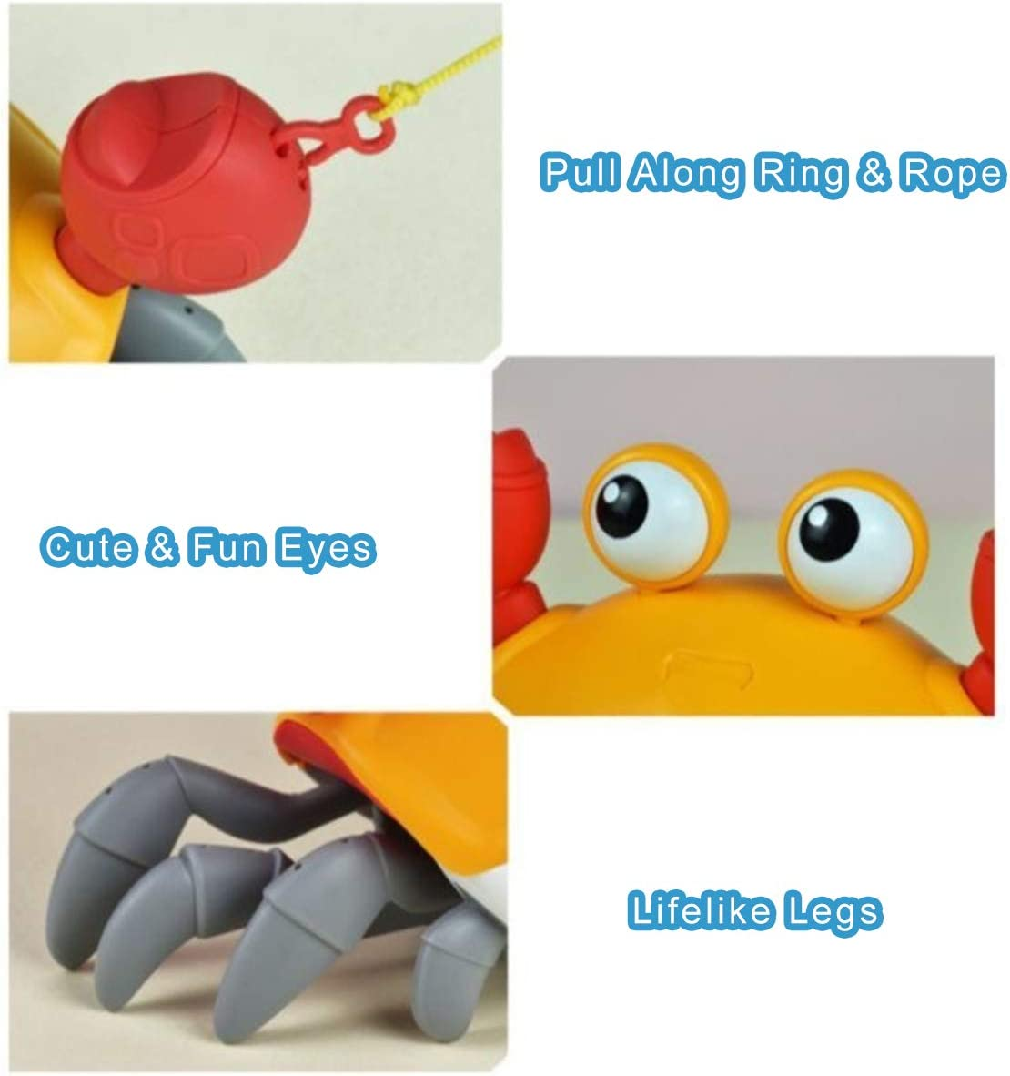Wind Up Baby Bathtub Toy and Pull Along Walking Toy for Kids 2 in 1 Mechanical Clockwork Crab for Boys Girls Blue BAKAM Bath Toys for Toddlers 1-3 Years