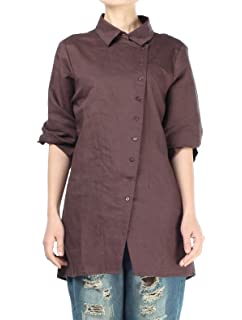 5aa97858c90e5a Minibee Women s Scoop Neck Pleated Blouse Solid Color Lovely Button ...
