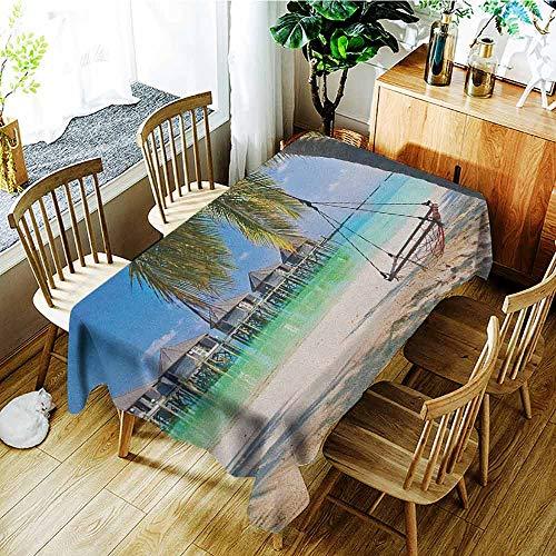 XXANS Custom Tablecloth,Beach,Hammock Under Palm Leaves in Golden Heaven Beach Paradise Caribbean Peace Sun Print,Dinner Picnic Table Cloth Home Decoration,W60x120L ()
