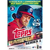 2016 Topps Series 1 MLB Baseball EXCLUSIVE Factory Sealed Retail Box with 10 Packs & 101 Cards including VERY SPECIAL MLB DEBUT Commemorative Medallion Card! Loaded with Cool Inserts & New RC Cards!