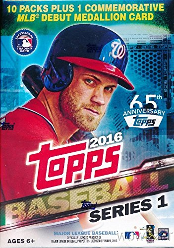 (Topps 2016 Series 1 MLB Baseball Exclusive Factory Sealed Retail Box with 10 Packs & 101 Cards and MLB Debut Commemorative Medallion Card )