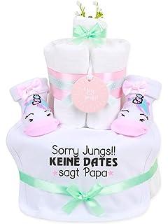 Geschenke zur Geburt Pampers Windeltorte gr/ün in Cakebox dubistda/© handmade