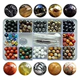 Chengmu 8mm Stone Beads Kit for Jewelry Making 230pcs Natural Gemstone Agate White Howlite Black Lava Hematite Assorted Color Round Loose Beads Set for Bracelet Necklace With Accessories Tools Color 3