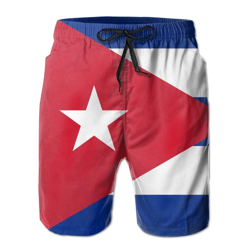 BBggyh Cuba Flag Summer Quick-Drying Board Short Beach Pants for Men