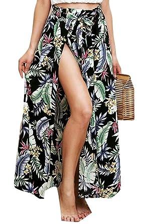 1470a403184 EKU Women s Summer Boho Floral Print Front Split Beach Long Maxi Skirt   Amazon.co.uk  Clothing