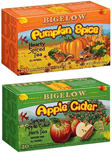 Bigelow Spiced Tea Bundle - Two Items: One Box Pumpkin Spice Tea & One Box Apple Cider Tea (Tea Bigelow Apple Cinnamon)