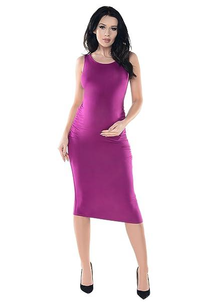 Purpless Maternity Vestido Midi de Embarazo Sin Mangas D8130 (Dark Pink, 36)