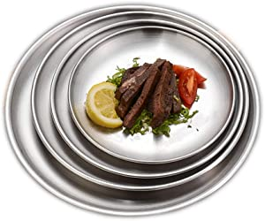 Drizzle Ins Style Stainless Steel Plate Discs Chic Food Storage Tray Round Silver Frosted Metal 304 Dishes Nordic Simplicity Dessert Steak Kitchen Coffee Shop (23cm/9inch(4pcs))