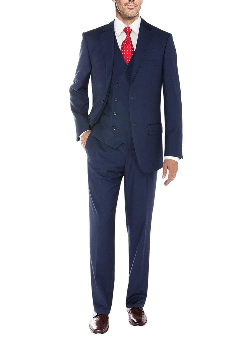 Salvatore Exte Men's Vested Suit 3 Piece 2 Button Blazer Vest Flat Front Pants