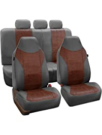 FH Group PU160BROWNGRAY115 Brown/Gray PU Textured High Back Leather Seat Cover (Airbag Compatible and Split Bench)