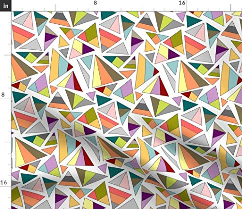 Spoonflower Minimalism Fabric - Rainbow Triangles Pop Art Purple and Green Summer Print Color Block Print on Fabric by The Yard - Organic Cotton Knit for Baby Blankets Clothing Apparel T-Shirts (Triangle Art Pop)