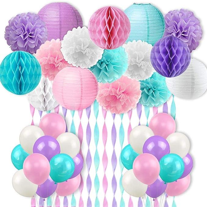 Mermaid Unicorn Party Decorations Pink Purple White Aqua Crepe Paper Balloons Tissue Pom Poms