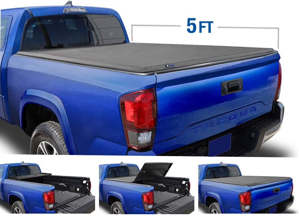 5.0 Ft, 2016-2020 Toyota Tacoma Soft Tri-Fold Tonneau Cover on Sale Best Price on Pick Truck Bed Covers