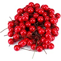 100pcs Artificial Red Color Cherry Christmas Berry Decorations Holly Berry Hanging Ornaments Holiday Festival Artificial Fruits Decor DIY