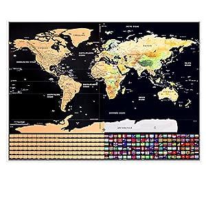 MyGadget Mapa del Mundo para Rascar las Aventuras – Póster Mapamundi Scratch Off – Travel Edition Map de tus Viajes con Países y Banderas [Ingles]. Negro