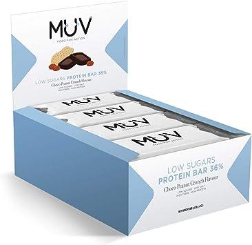 Muv Food For Action - Barras de proteína bajas en azúcar con chocolate y crujiente de cacahuete, 12 unidades de 30 g