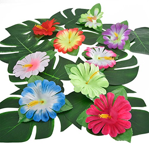 32 Pieces Simulation Hibiscus Tropical Leaves for Hawaiian Luau Jungle Party Decoration