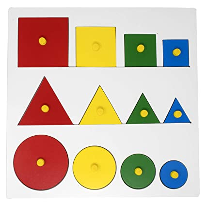 amazon com explearn wooden geometric shape and size puzzle withG Ometric Shape #16