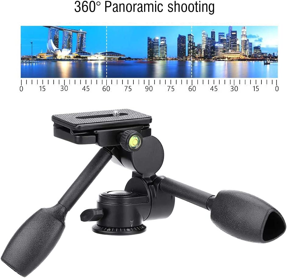 Double Handle Tripod Monopod Ball Head 360 Degree Three-Dimensional Gimbal Pan Head Rocker Arm with Quick Release Plate for DSLR//Mirrorless Camera