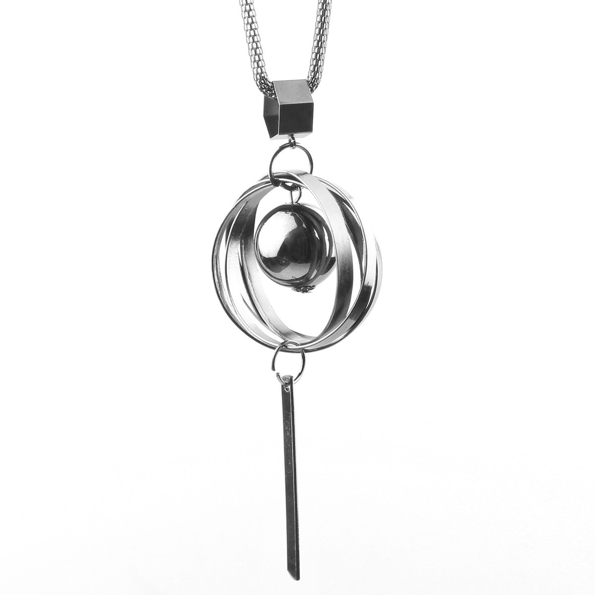 Gexo Solid Long Sweater Necklace for Women Sliver Triple Stack Pendant Necklace Elegant Statement Necklace