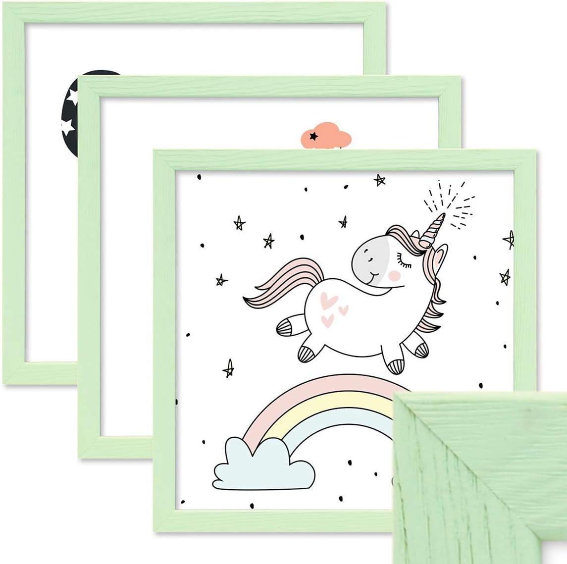 3er Set Bilder Kinderbild Wandbild Tiere Bilderrahmen Fotorahmen Holzrahmen Nr.0