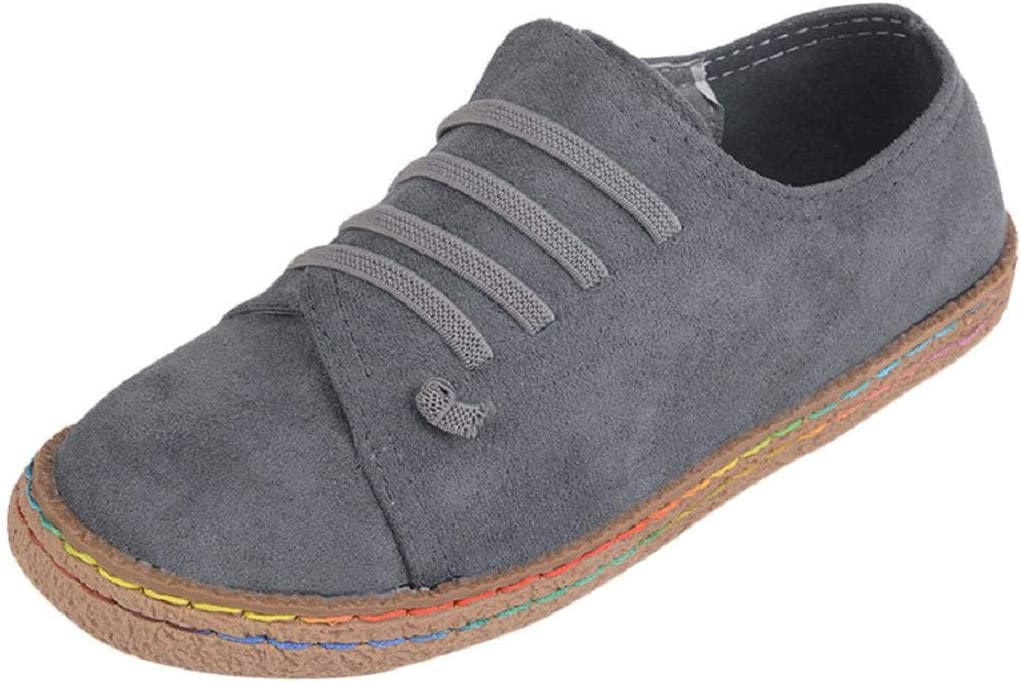 Yesmile Zapatos de mujer❤️Zapatos Planos de Mujer de Las señoras Suaves del Tobillo Zapatos de Mujer de Las Botas de Gamuza con Cordones de Cuero Casual Planos Loafers zapatos mujer plataforma