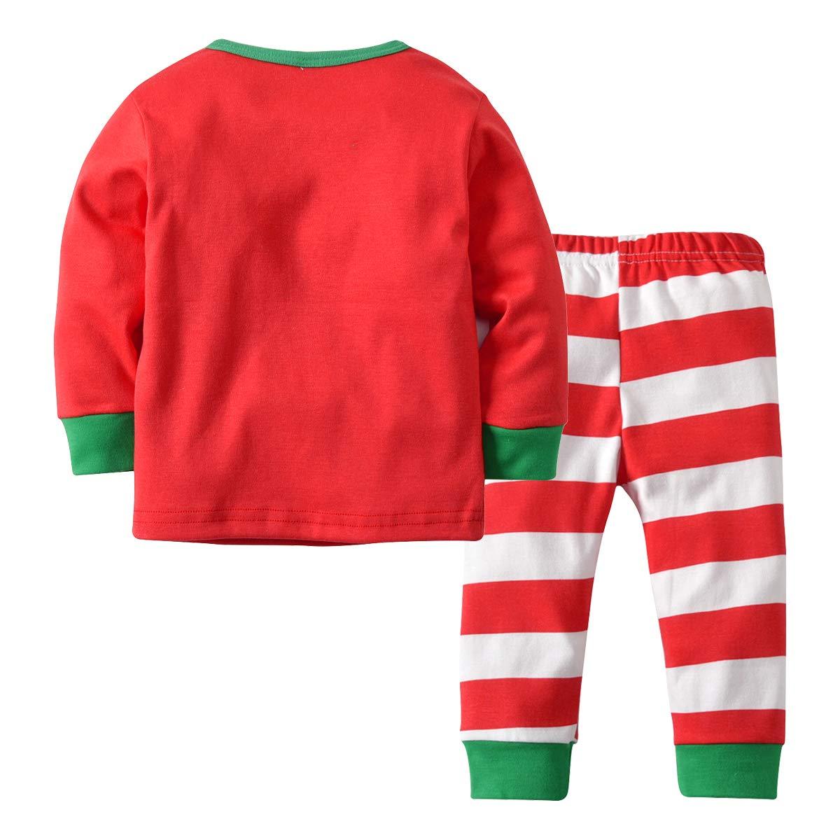 MAOMAHREWW 2Pcs Christmas Outfit Set Sleeper Pajamas Cotton T-Shirt and Pants
